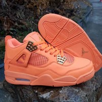 Nike Air Jordans 4 AJ4 Retro Men Orange Sports basketball Shoes