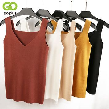Crop Top Knitted Summer Tank top Women Blouse Sleeveless V Neck Top Female t-shirt Vest Casual Camis streetwear
