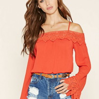 Open-Shoulder Crochet Top