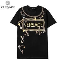 Versace New fashion letter love heart print couple top t-shirt Black