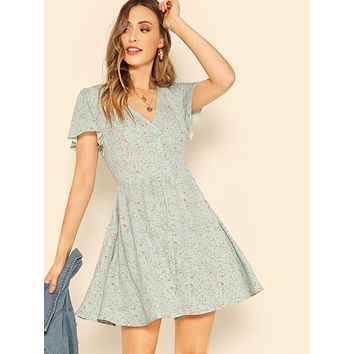 SHEIN Button Front Ditsy Floral Tea Dress
