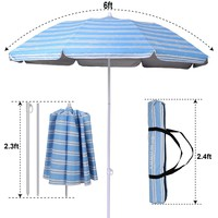 Ammsun 2017 6ft Folded Beach Umbrella with Tilt Portable Cabana Silver Coating Inside UV Protection Stripe (Blue)