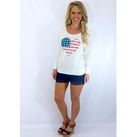Love America Cross Back Top