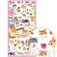 Hamsters Ferrets Hedgehog Bunnies Pet Shop Themed Puffy Stickers | 2 Sheets