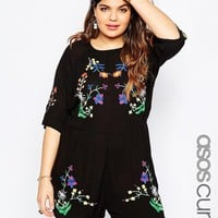 ASOS Curve | ASOS CURVE Bright Embroidery Romper at ASOS