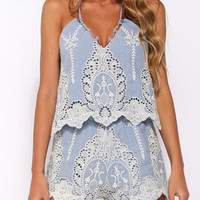 Blue Embroidered  Strappy Romper