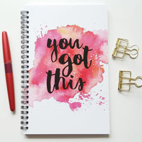Writing journal, spiral notebook, bullet journal, diary, sketchbook, pink watercolor, blank lined or grid paper- You got this
