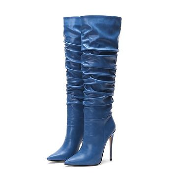 Women's Ruched Style Knee High Fashion Boots
