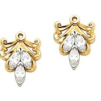 Pair of 14K Yellow Gold Diamond Earring Jackets – 0.30 Ct. —...