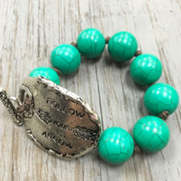 Follow Your Heart, Turquoise Beaded Bracelet