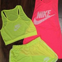 3 Pcs Set Nike Fluorescent Vest Shorts Movement Set