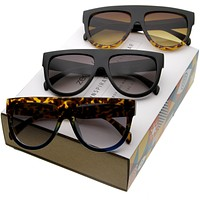 Large Retro Flat Top Fashion Aviator Sunglasses C003 [Promo Box]