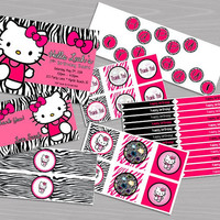 Printable Hello Kitty Birthday Party Set! Personalized Invitations, Thank You Cards, Straw Flags, Favor Tags, Cupcake Toppers, Banner, Etc!