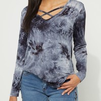 Olive Tie-Dye Strappy Long Sleeve Tee
