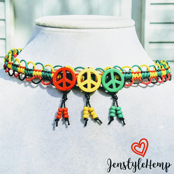 Peace Sign with Beads Rasta Hemp Choker Necklace