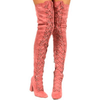 Bertisa 8 (Nicki M) Pink Faux Suede Chunky Lace Up Thigh High Boots