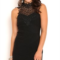 Bandage Bodycon Dress with Contrast Crochet Lack Neckline and Bow Back