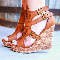 Walk This Way Wedges In Tan
