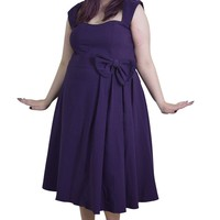 Plus size 60's Classic Vintage Purple Flare Party Dress with Bow