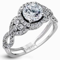 Simon G. Halo Split Shank Twist Diamond Engagement Ring