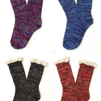 Marled Lace Trim Ankle Socks - Rust, Purple, Turquoise or Black