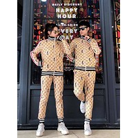 GUCCI Men Women Fashion Dee Embroidery High-End Cotton Trousers Coat Two-Piece Set