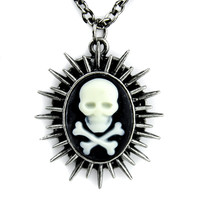Sun Spikes Skull Cameo Necklace Death Cross Bones Chaos Star