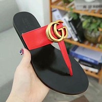 GUCCI Women Fashion Leather Slipper Sandals Shoes-2