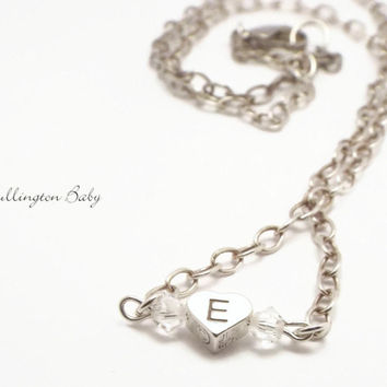 Silver Necklace with Monogrammed Heart and Swarovski Crystals (B56)