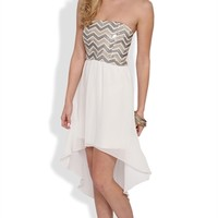 Strapless Dress with Chevron Sequin Bodice and High Low Hem