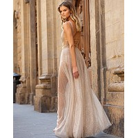 Fashionable casual gold wave point deep V sexy perspective dress