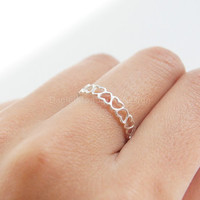 Sterling silver ring,heart ring,simple ring,adjustable ring,open ring