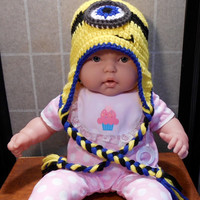 Baby Toddler Child One Eye Minion Hat. Despicable Me Minion Crochet Hat, crochet minion Halloween costume. Toddler hats