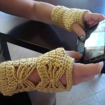 Crochet Wrist Warmers with Butterfly Design - Fingerless Mitts for all Seasons - Yellow Gloves