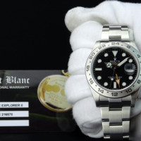 ROLEX 42mm Stainless Explorer II Black Index Dial CARD BOX TAG 216570 SANT BLANC
