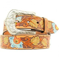 Ariat Painted Floral Tooled Western Belt - Sheplers