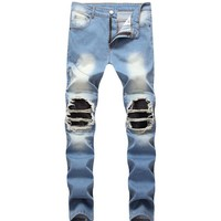 Men's Blue Pleated Patchwork Hole Ripped Biker Jeans For Motorcycle Casual Slim Skinny Distressed Stretch Denim Pants Size 28-42