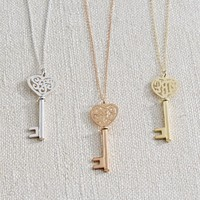 Initial Reaction Monogram Heart Key Pendant