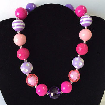 Purple Pink White Bubblegum Necklace