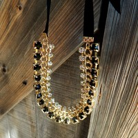 Jeweled Ribbon Tie Necklace
