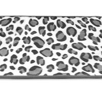 "Memory Foam Bathroom Rug With Black/White/Silver Leopard Pattern 17"" x 24"""