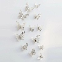 Fashion Casual 3D Hollow Butterfly Wall Sticker 12pcs