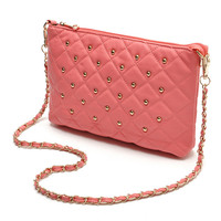 Pink Quilted Studded Crossbody Bag