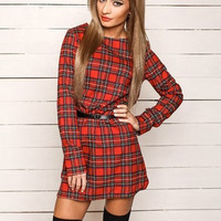 Plaid Print Long Sleeve Mini Shift Dress