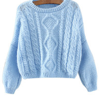 Blue Cropped Cable Knitted Sweater