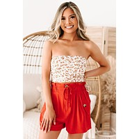 Michelley Floral Side Ruched Tube Top (Ivory/Coral Ditsy)