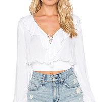 Ruffle Front Blouse in Ivory