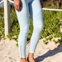 Light Blue Moto Jeggings with Ankle Zippers