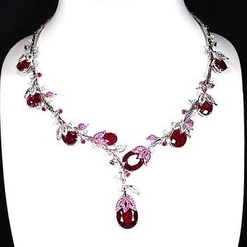 A Stunning Vintage 109TCW Red Ruby White Sapphire Green Garnet Necklace