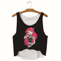 Womens Mermaid Printed Show Hilum Tank Top Sports Vest Summer Gift - 06